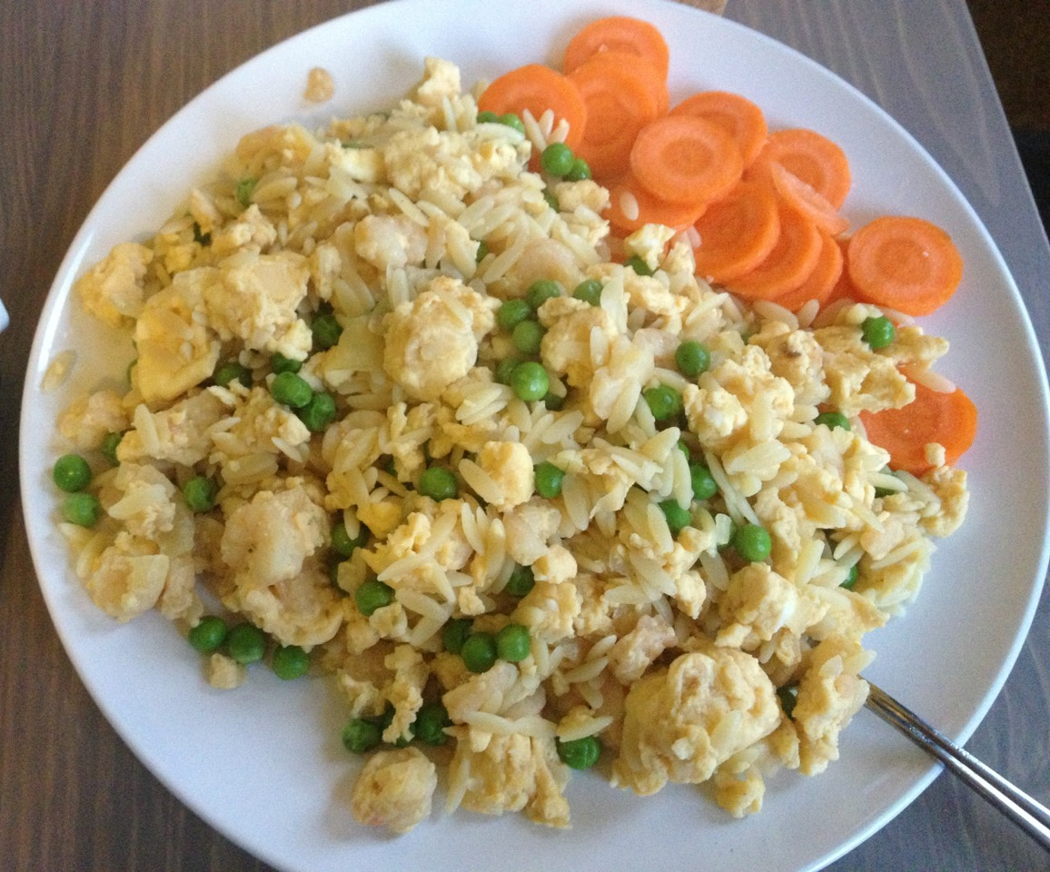 Savory scrambled eggs with shrimp