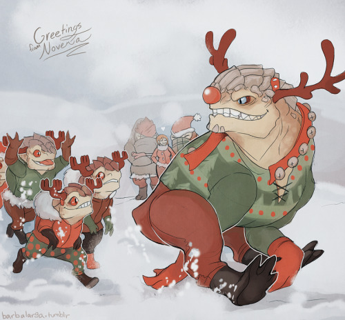 grunt really took to the rudolph story. a beast who is not like his kind but proves his worth once someone believes in him. plus, grunt is certain that red nose is a scar from BATTLE!!!!