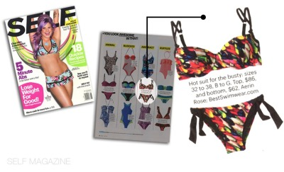 "Aerin Rose is featured in the May issue of Self Magazine. Suit Showcased: Feathers parasol underwire demi cup and tie side.  (styles 102 & 404) Self fashion editor described this bikini as a ""hot suit for the busty"".   Self Magazine's mission statement is ""empowered, inspired""  the self brand provides the content and tools to inspire a woman to take charge, to curate her life and to become her best self. Self has a paid circulation of over 1.5 million readers and a total audience of over 5 million including web.   Also click the link below for the online feature.   http://www.self.com/beauty/2013/05/swimsuits-sexy-abstract-prints-slideshow?intcid=hukk_swim#"