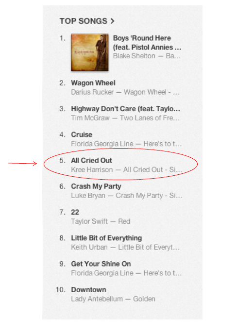 Top-selling country songs on iTunes, May 17, 2013.