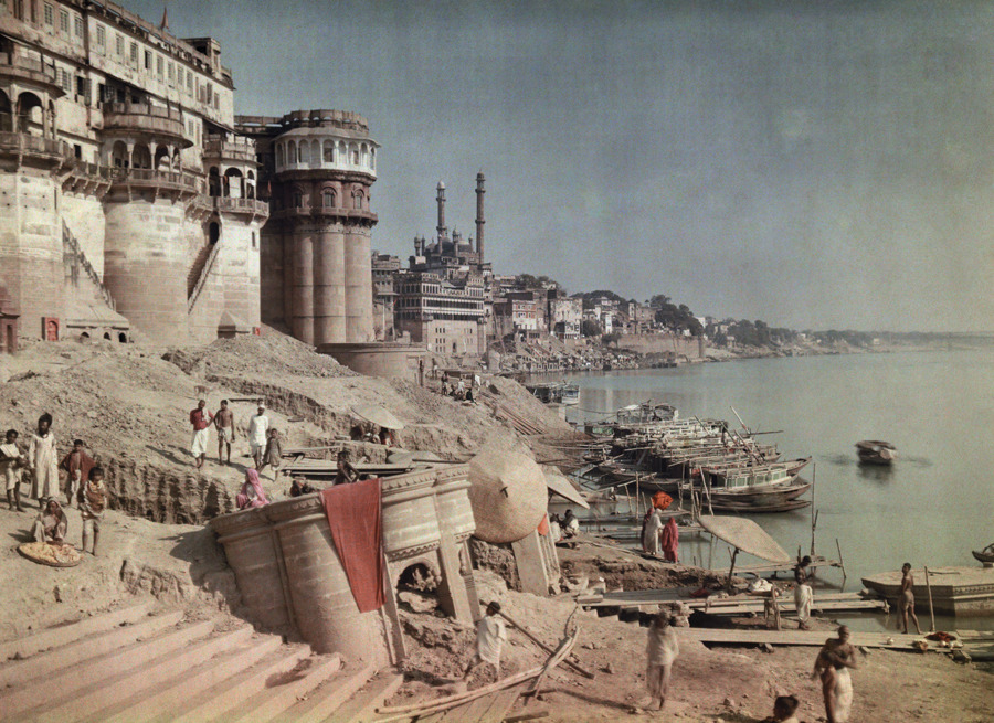 A view of a bathing ghat on the shores of the Ganges River in India, 1923.Photograph by Jules Gervais Courtellemont, National Geographic