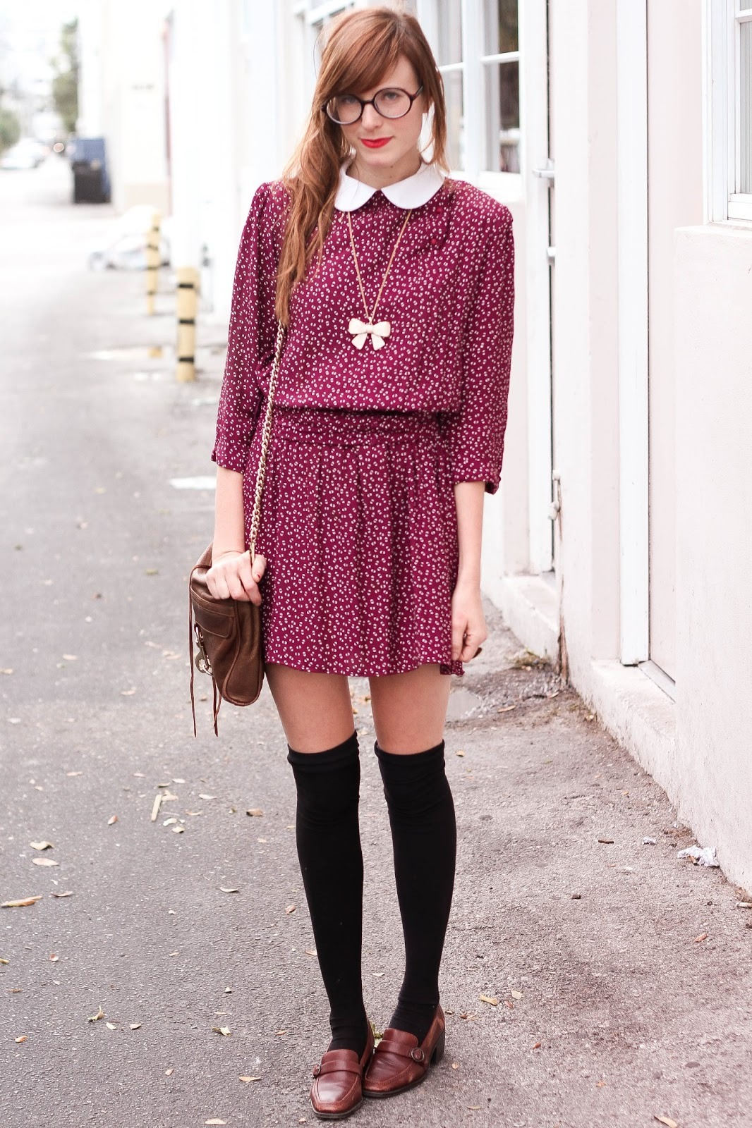Black thigh high socks with brown shoes and vintage burgundy dress