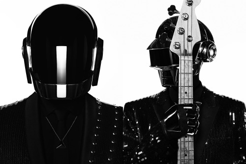 mensweardog:  Dog Punk Daft Punk's fourth studio album Random Access Memories officially drops on May 21st 2013, and in gleeful anticipation here's Menswear Dog's loving tribute to the most stylish robots in the game. The electronic duo have hooked up with Hedi Slimane of high fashion house Saint Laurent this time around to outfit them in one-of-a-kind couture smoking jackets. The hardware is certainly over-the-top but these dudes always know how a suit should fit because these rigs are tailored to perfection. Here's a link to the first single and video, Get Lucky featuring fellow style pioneer Pharrell Williams.