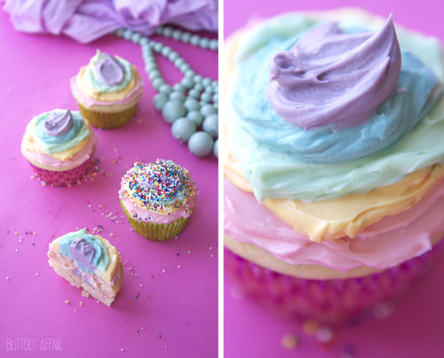 gastrogirl:  the best vanilla cupcakes with rainbow frosting.