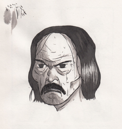 we watched Machete and I really wanted to make a no-reference drawing of Danny Trejo when I got back home. he has one of the coolest faces. I really suck at shading. and I tried adding more mustache but I didn't wait for the ink to dry so now he has a caterpillar on his face.