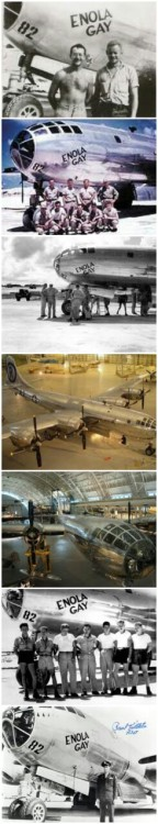 The Enola Gay  The plane used to drop the atomic bomb that devastated Hiroshima on August 6, 1945.  Enola Gay was placed in storage less than four weeks after the bombing and never flew another combat mission.