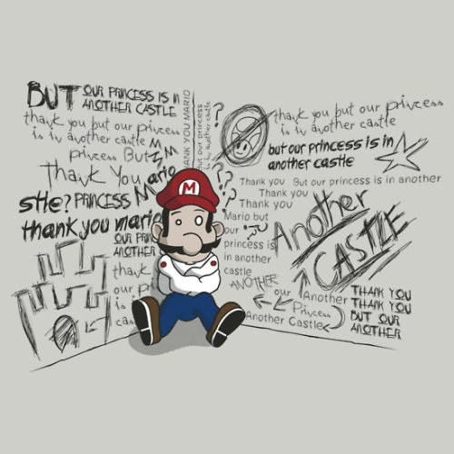 "gamefreaksnz:   Bad News by KentZonestar USD $28.02 ""Thank you Mario, but our princess is in another castle""""Thank you Mario, but our princess is in another castle""""Thank you Mario, but our princess is in another castle""He was bound to crack eventually. Follow the artist on Tumblr"