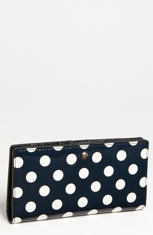 "Kate Spade ""Carlisle Street Stacy"" Wallet - $51.20, Nordstrom I finally splurged on a Kate Spade wallet at the outlet a couple of years ago, and they really last forever.  This one is discounted from $128, and you'll get 14% cash back on your purchase through Ebates!"