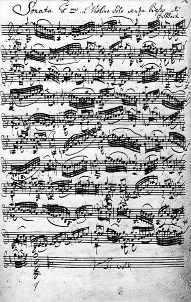 The autograph of Bach's Violin Sonata No.1 in G minor (BWV 1001)