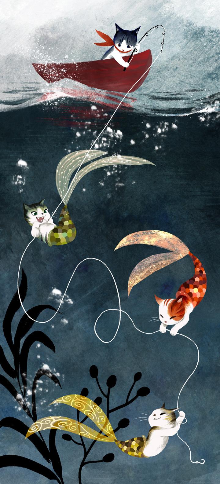 cat Illustration cats underwater fantasy ocean sea digital Mermaids fishing sailing artists on tumblr Children's Book Illustration children's art mercats vivedessins mermaid cats