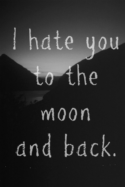 "Well, everyone always say ""I love you to the moon and back"". I'm more original than them, i put ""hate"", lol."