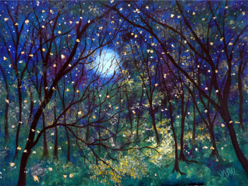 illustratosphere:  Fireflies under springtime moon lustre print by Jean Vadal Smith