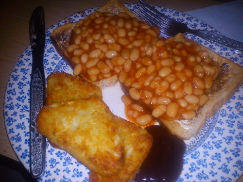 beans on toast with marmite and hash browns