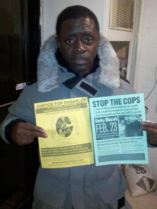 anarcho-queer:  The father of Ramarley Graham, a Bronx teen who was killed in his home by the NYPD last year, holds two fliers promoting the Stop the Cop march next month and the 1st memorial (+ rally and candlelight vigil) for Ramarley which will be held on February 2nd @ 749 East 229th Street at 2pm.