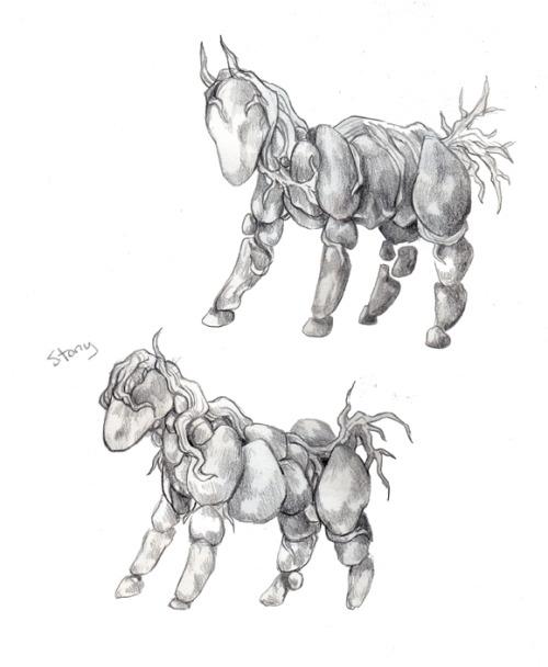 my art colored pencil stony horse pony elemental rock elemental earth elemental fantasy earth boulder rock roots vines