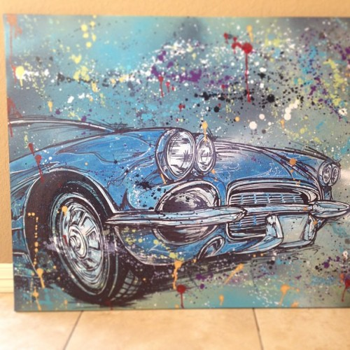 62' Vette commissioned piece. #art #car #sketch #canvas #painting #splatter #corvette #chevy #drawing #spraypaint #ink #sharpie #acrylic #original