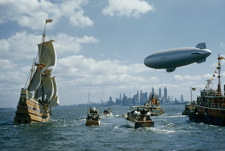 A replica of the Mayflower sails into New York Harbor with a welcoming fleet, November 1957.Photograph by B. Anthony Stewart, National Geographic
