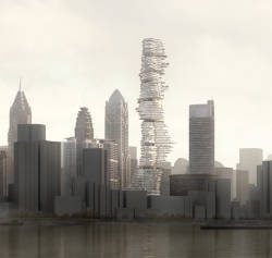 acidadebranca:  #ARCHITECTURE #RENDERINGS #SKYSCRAPERCITY CHONGQING | Urban Forest | MAD studio Rendering in SketchUp: From Modeling to Presentation for Architecture, Landscape Architecture and Interior Design $32.24 & FREE Shipping. Urban Forest By the end of 2009, MAD has completed the concept design of a 385 meter high metropolitan cultural complex in the city center of Chongqing - The Urban Forest. This is the third skyscraper designed by MAD following the Absolute Towers in Toronto and the Sinosteel International Plaza in Tianjin, China. MAD proposes a new architectural concept for the course of Chinese urban development - to actualize a sustainable multidimensional high-rise within China's youngest municipality, where nature reincorporates into the high-density urban environment in the near future, to evoke the affection for nature once lost in the oriental ancient world and bring to the modern city dwellers. In the year of 1997, Chongqing became the fourth direct municipality in China. As an important pole of the growing economy in western China, the city area of Chongqing is more than twice of those of Beijing, Shanghai and Tianjin combined. Such macro-scale urbanization should not only pushes economic growth and material prosperity, but also foster the evolution of the city's cultural essence. Chinese cities have gone through the process of once starting from nothing, to following contemporary Western civilization urban pattern. Now, the overall economic infrastructure has oriented the direction of future development towards inland China. What lies in the future of cities? How should one grasp the concept of emerging high-density cities of China in the context of a scenic town such as Chongqing? How does one discuss the future of architecture in Chinese cities on the base of Eastern Naturalist perspective and in the new context of China's unique economic, social environment and globalization background? How to engage the city dwellers with an experience of nature when its presence of steadily diminishes in the face of the ever intensifying concrete jungle. Throughout the process of contemporary Western urbanization, skyscrapers were the symbol of technological competitions, prime capitals and the formal enslavement of the powerful and the rich. Sustainable ecology became more of a demand for comfort; while the yearning of a return to nature was left ignored. The Urban Forest draws inspiration from the perspective of nature and the man-made in Eastern Philosophy, and ties the urban city life with the natural outdoor experiences. The shape of the architecture mimics mountain range, shifting in a dynamic and yet holistic rhythm, and becomes a continuation of nature. Unlike its preceding counterparts, The Urban Forest no longer emphasizes on vertical force, instead it concentrates on the multidimensional relationships within complex anthropomorphic spaces: multilayer sky gardens, floating patios and minimal and yet well lit nesting spaces, the architectural form dissolves into the fluid spatial movements between air, wind, and light. In this environment, people encounter nature filled with unexpected surprises. The fusion between Eastern humanism spirit and urban public spaces pioneers in the making of a sustainable multidimensional city - The Urban Forest will not be a piece of mediocre urban machinery, but an artificial organ that lives and breathes new life in the steel-and-concrete-filled city center. Chongqing, the youngest municipality in China, holds great potential in its urban planning and construction and has the capability to be built into a most livable city, a city of pleasant environments, a traffic-jam-free city, even into a city that runs into a complete urban forest. A city with aspiration and vitality shall be courageous in envisioning and designing its great future. - Bo Xilai (Mayor of Chongqing) In October 2009, The Urban Forest from MAD debuted in the Heart-Made, Europalia exhibition at the 2009 Europalia China. It represents the most challenging dream of the contemporary Chinese architecture —- a type of urban landmark that rises from the affection for nature. It is no longer a static icon but an organic form that changes all the time with people's perception. http://www.dezeen.com/2009/12/10/urban-forest-by-mad/