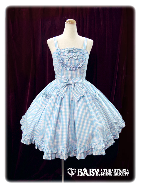 lolitahime:  Gingham Check Frill JSK in Saxe BlueAlso available in:RedBlack