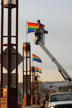 """Wabasha Street Freedom to Marry Bridge.""""St. Paul Public Works installing rainbow flags on the Wabasha Bridge this morning - thank you St. Paul and Mayor Coleman!""   We're voting in all-inclusive marriage this week - Minnesota for the win!"