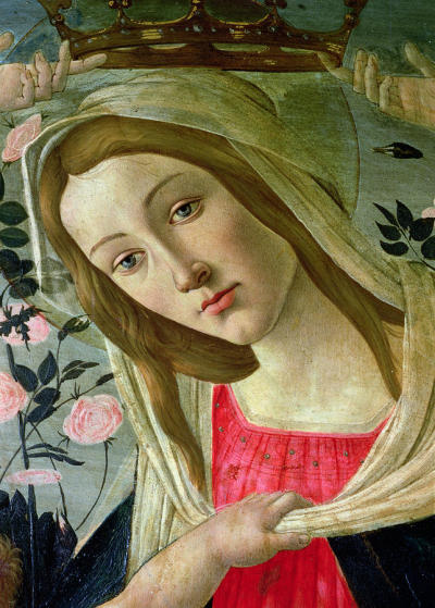 "thatsantonio:  Sandro Botticelli, ""Madonna and Child Crowned by Angels"" (detail)."