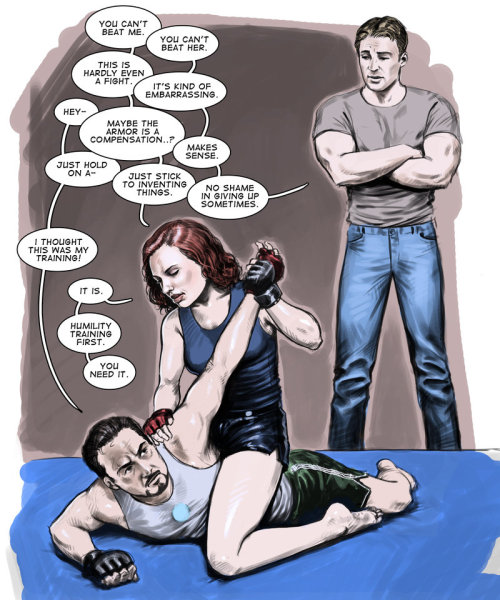 rogers-and-stark:  Avengers Sketch: Martial Arts Training by ~Jedi-Art-Trick