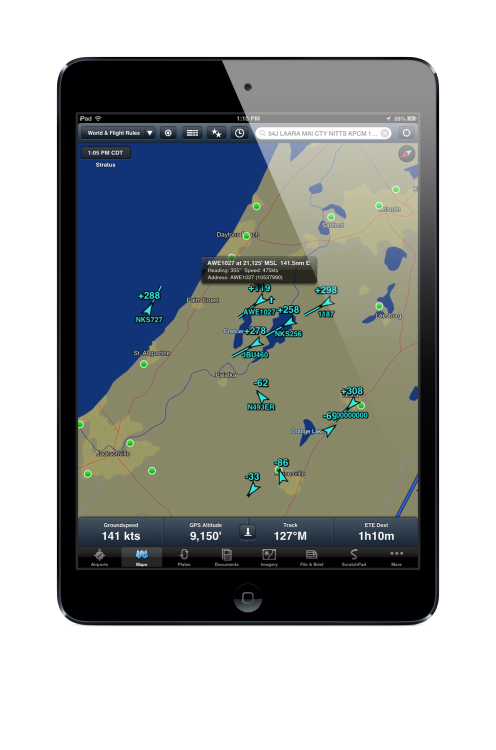 ForeFlight Mobile version 5.1 hit today, and added ADS-B traffic to its long list of features. Full details from iPad Pilot News: http://ipadpilotnews.com/2013/04/foreflight-5-1-brings-traffic-display/