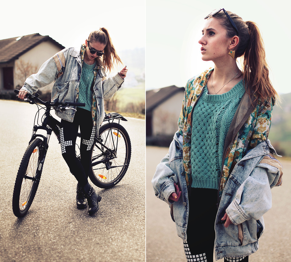 (via She Inside Sweater, Nowistyle Floral Jacket, Black Union Acid Denim Jacket, Zara Earrings, Zerouv Sunglasses, Persunmall Biker Boots, Chicnova Cross Leggings - LET ME RIDE YOUR BIKE! - Jessica Christ | LOOKBOOK.nu)