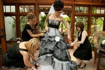 Black and white gothic wedding dress by www.weddingdressfantasy.com