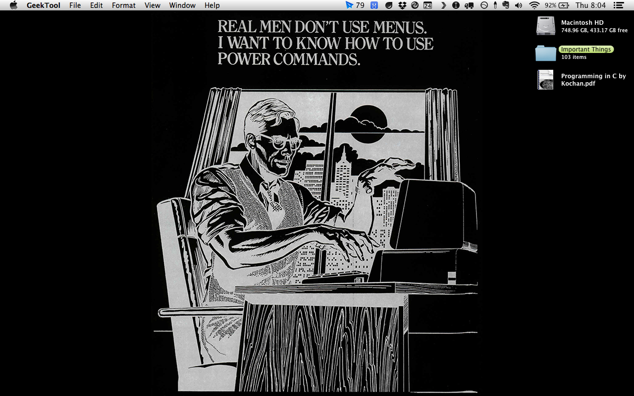 "REAL MEN USE POWER COMMANDS!  ""This was a VisiCalc ad back in the early 80's. It was comparing itself to the new menu-based Lotus 1-2-3."""