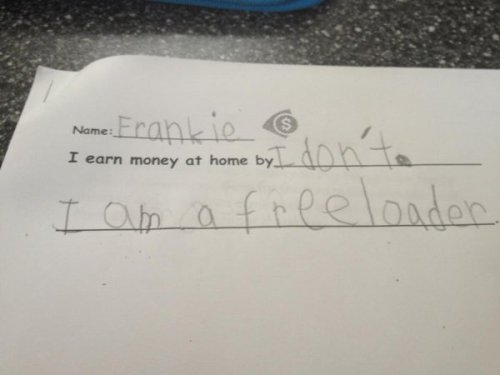 This Kid Knows What He's Doing Honesty is the saddest policy.