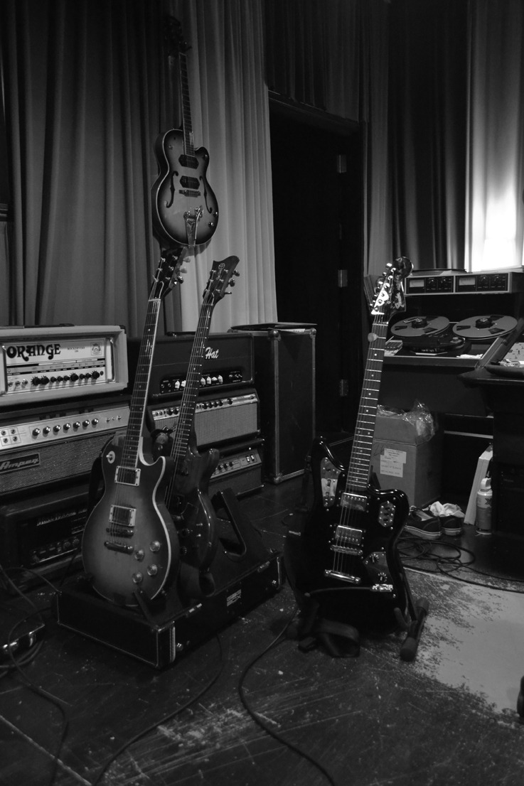 In the studio. Sean's Gibson Les Paul and Electra. Brian's Jaguar.