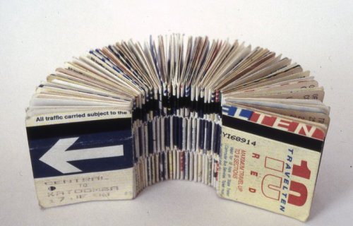 Bus Ticket book (300 journeys) by Adele Outteridge  Everyday objects might not mean anything when it is stand alone. but when it is bounded together, the message is strong and clear.