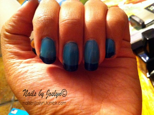 A simple blue french design done on April 20, 2013. I had to do my nails specifically for the next day of work, we had a huge visit from the president and vice president of the company. I had to look my best. Sorry for the bad quality, I took it with my phone.