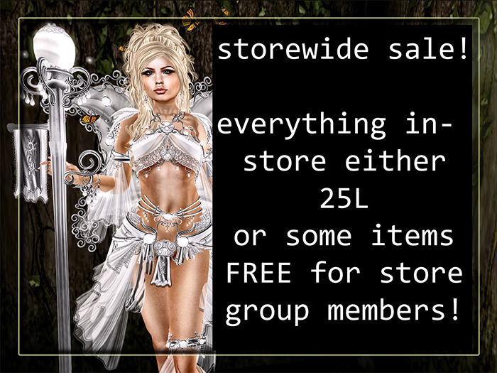 Come along to the **Angelwing** Storewide Sale! Newer items, including high quality fairy/fantasy outfits and silks, are all discounted to 25L each! Older items are all FREE for store group members! http://maps.secondlife.com/secondlife/Ungseokbong/223/129/127