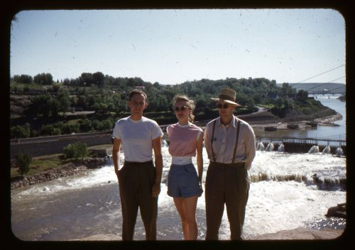 "lostslideshows:  Slide Labeled ""Barry, Gail, & Dick"" - July 1953"