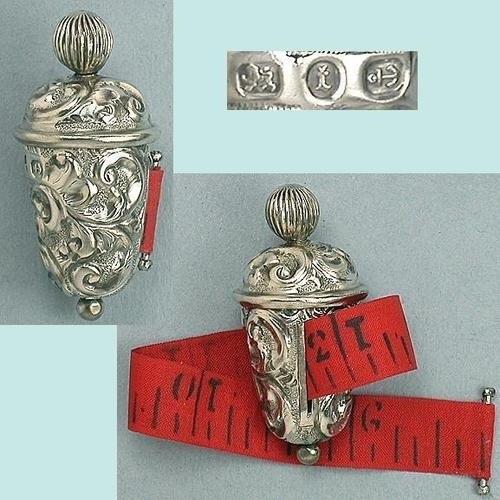 Ornate Antique English Sterling Silver Tape Measure; Hallmarked 1893