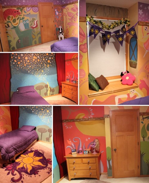 fancysomedisneymagic:  TANGLED REAL-LIFE ROOM A talented artist recreated this room for her daughter upon Rapunzel's tower! The art inside the walls of her tower has been portrayed in some little girl's room. BEst mom EVER. Source: becomingirreplaceable