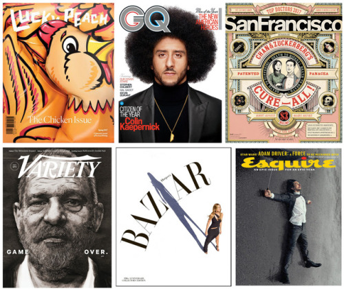 Magazine art directors (including me) pick their favorite magazine covers of 2017. Via Foliomag.com.