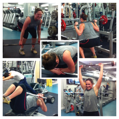 Some stills from a really rather flattering video of me doing a HIIT session earlier this week. Who needs the treadmill when you can do crazy weight sessions like this… Give it a go: 20 x deadlift 20 x squat 20 x bench press 20 x clean and press Repeat 3 times!  It's fast and challenging but trust me, you will be buzzing after it!!