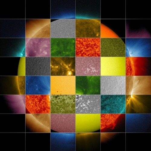 Solar collage (Observations of the sun in different wavelengths, Solar Dynamics Observatory (SDO), NASA)