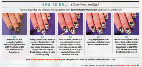 theillustratednail:  Did anyone try out my step by step guide to Christmas figgy pudding nails in @TimeOutLondon last week? I'd love to see them so please send me some pictures if you tried it!