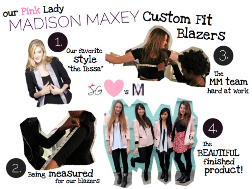 "Small Girls Style: We Channel the Pink Ladies with Custom Madison Maxey Blazers! Don't let our name mislead you… though we started small, as our company has grown so have our girls. With a nine inch range between our heights we are definitely not a ""one size fits all"" crew! Fit is extremely important when it comes to blazers, so when we decided to get matching ones for the team it was important that while identical in style, they'd also cater to our varying sizes.   This is where Madison Maxey comes in (who we had the pleasure of meeting and working with last November).  They made our dreams of being the Pink Ladies of the biz come true in these signature pink & black blazers created just for us! We picked our style, the color scheme, got ourselves measured, and voila. Madison Maxey has also recently launched a kickstarter campaign to help fund their growing business- which includes keeping production onshore and diversifying into #menswear.  Watch the video to find out more about their vision and how they got started (we honestly can't believe they're both only 19! you go gurls!)    While you're at it, you can enter their giveaway for a chance to win a custom blazer of your own! All you have to do is tell Madison Maxey the name of the band featured in their Kickstarter video: http://bit.ly/madisonmaxeygiveaway.  Big thank you  to Maddy and Tessa! We're gonna ruuuule the school rockin' our one of a kind blazers everywhere we go. + Thanks to Nicky Digital for snappin our pics at the Secret Clubhouse"