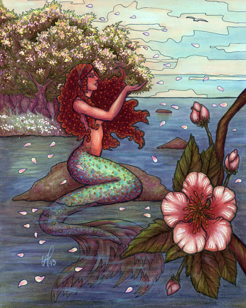 wildfins:  Apple Blossom Mermaid by ~freyah
