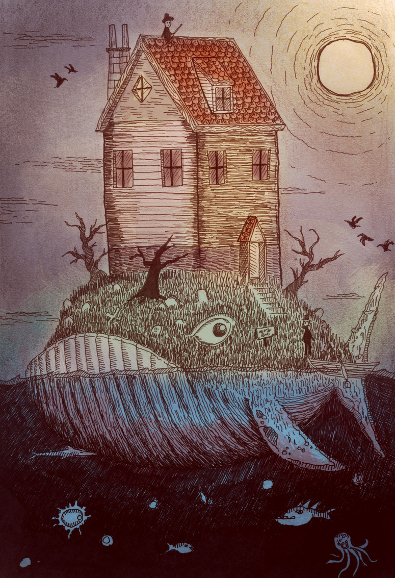"hitrecord:  ""Whale house"" Illustration by rabbleboy == MattConley (Community Director) writes: Such a rich resource for the ""Tiny Stories"" collaboration - super well illustrated, full of fine details, and it leaves itself completely open to a variety of stories (both literal and ambiguous.) Let's write some tales for this whale, eh?! :D == Contribute your Tiny Stories HERE!"