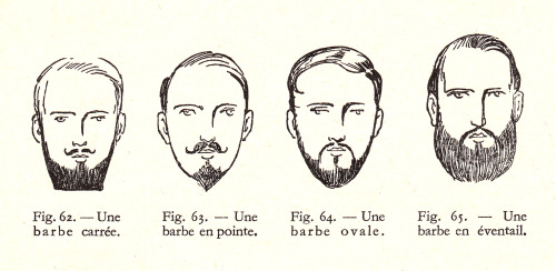 Square, pointed, oval and fanned beards.From Coiffure Masculine by Joseph Anzalric, 1942. Vintage Scans