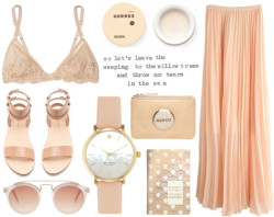 nothing's that simple por amy-kate con short heels ❤ liked on PolyvoreLong pink skirt / La Perla mesh bra / Alexander Wang short heels / ASOS metal sunglasses / Korres , $6.92 / Mimco Mim Pouch, $70