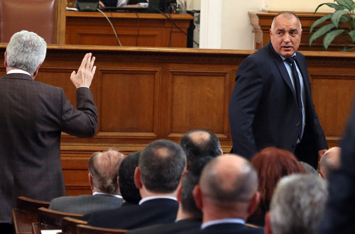 Bulgaria's government resigns AP: Bulgaria's government has resigned after days of violent protests fueled by outrage over rising energy costs, corruption and a general economic decline in what is already the European Union's poorest nation.  Tens of thousands of Bulgarians had turned out in cities across this nation of 7.3 million people since Sunday in protests. They accused their leaders of having ties to crime and demanded that the government resign. Many chanted 'Mafia!'  Photo: Bulgarian Prime Minister Boyko Borisov (R) leaves the parliament in Sofia on February 20, 2013 after announcing his government's resignation following days of sometimes violent street protests in the European Union's poorest member. (AFP/Getty Images)