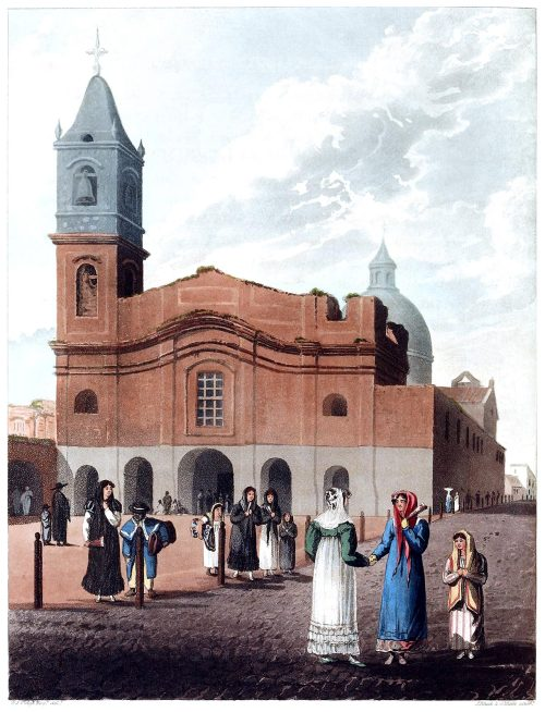 Church of San Domingo.  From Picturesque illustrations of Buenos Ayres and Monte Video, written and illustrated by Emeric Essex Vidal, London, 1820.  (Source: archive.org)