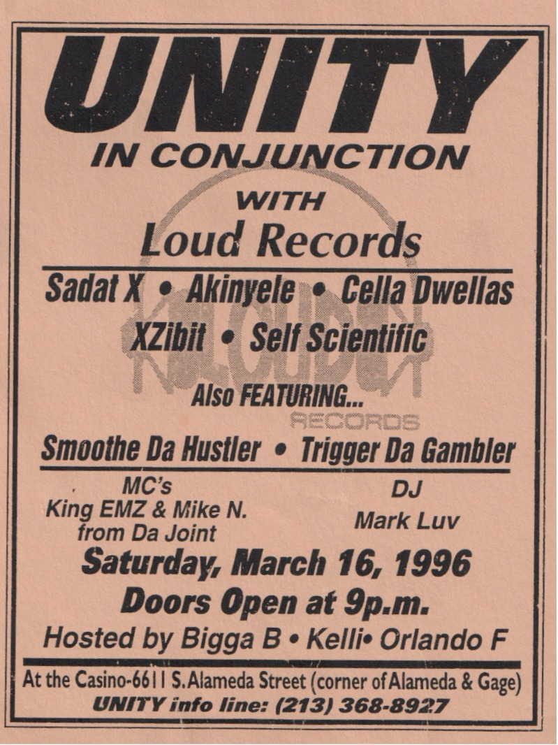 Loud Records Showcase Flyer - Unity [Los Angeles] (1996) (via theunityera)